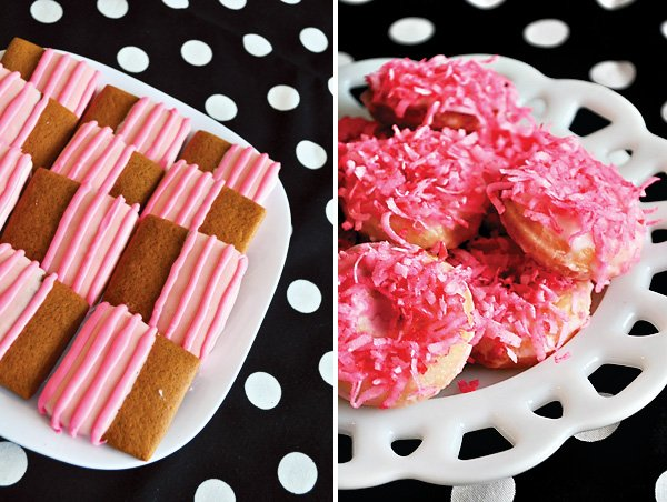 pink shortbread cookies and pink coconut donuts
