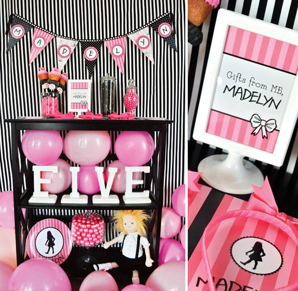 pink and black Eloise themed birthday party decorations