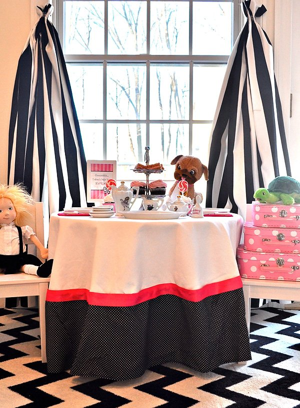 Eloise themed birthday tea party - pink and black tablecloth