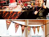 firetruck party dessert table and birthday banner