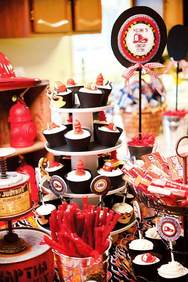 fire truck birthday party dessert table and cupcake display stand