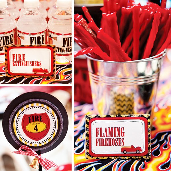 fire truck birthday party water bottles and lables