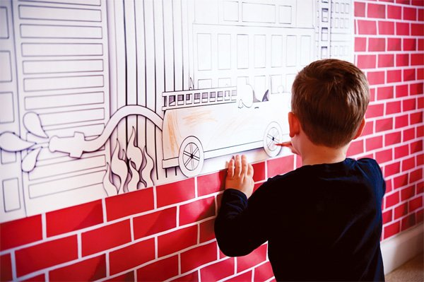 fire truck birthday party coloring wall
