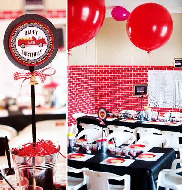 firetruck birthday party kids tables and firetruck centerpiece