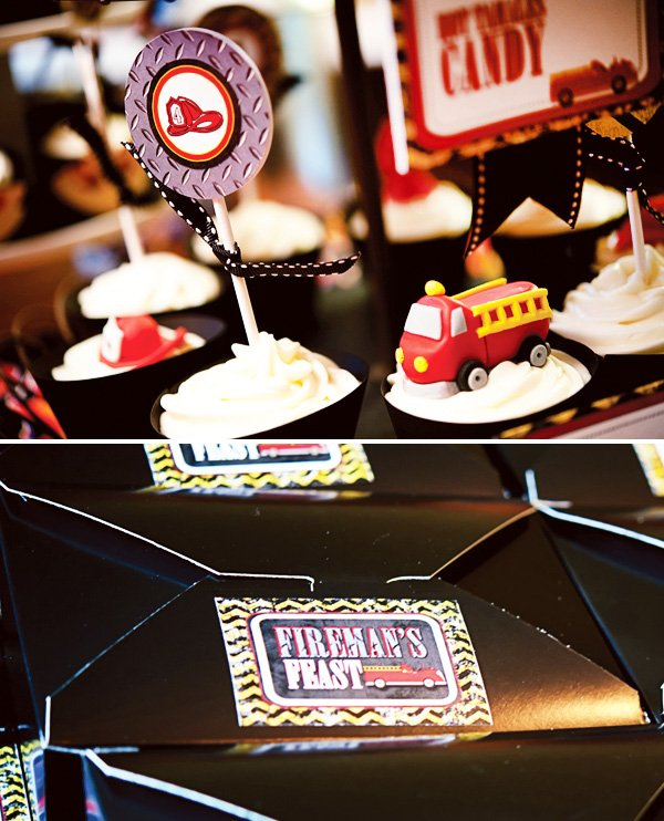 fire truck birthday party cupcake toppers and lunch boxes