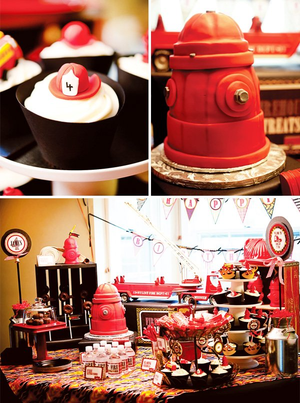 fire truck birthday cake and cupcakes on a fire truck dessert table