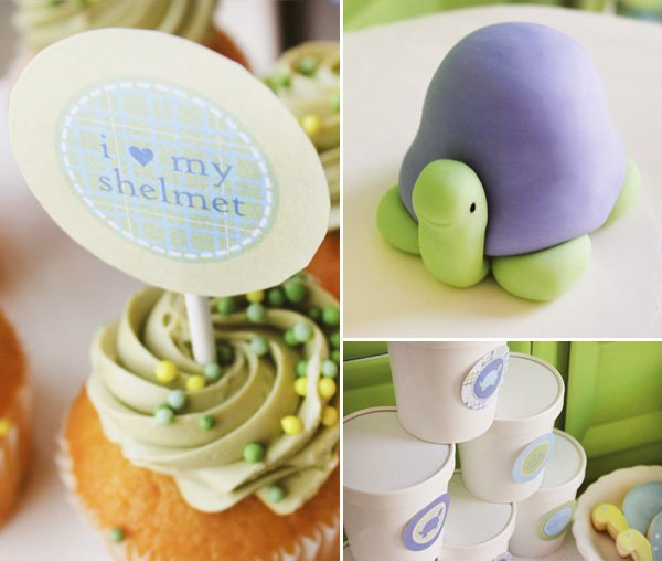 fondant turtle cake topper with cupcakes and labels