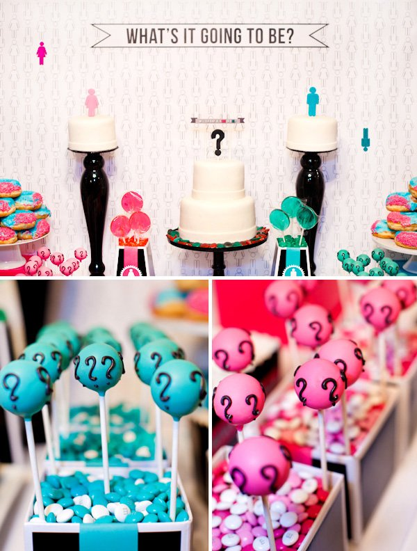 Baby Gender Reveal Dessert Table - Pink & Blue