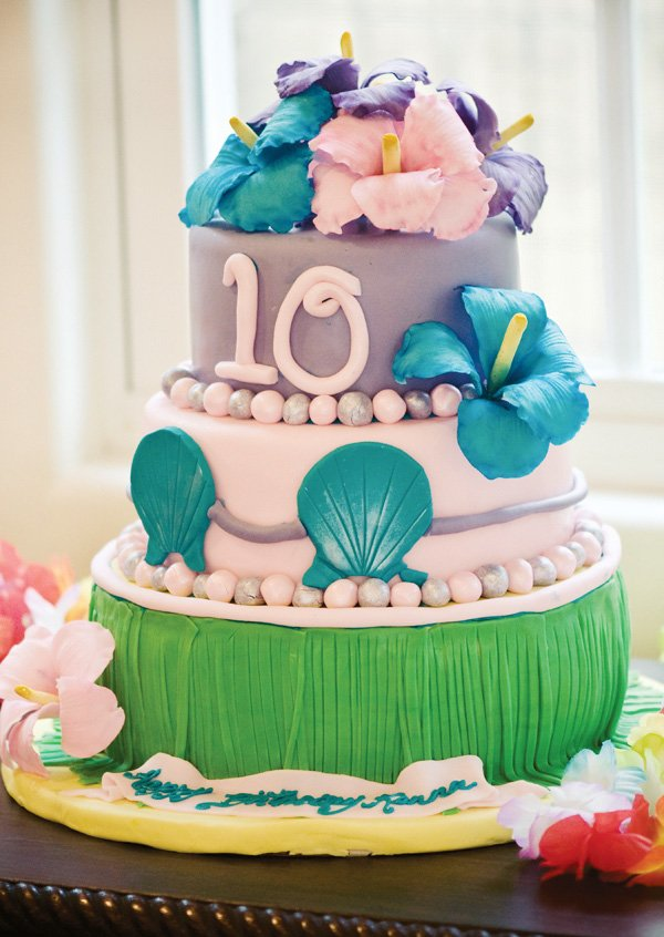 luau birthday party pink and purple cake with sea shells