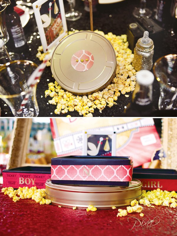 hollywood baby shower decorations: vintage film reel and popcorn