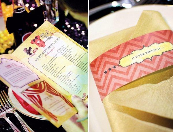hollywood baby shower envelope napkins and menu