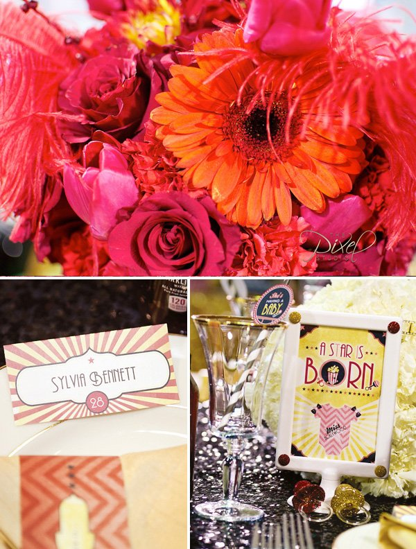 hollywood baby shower place cards, drinks, and flowers