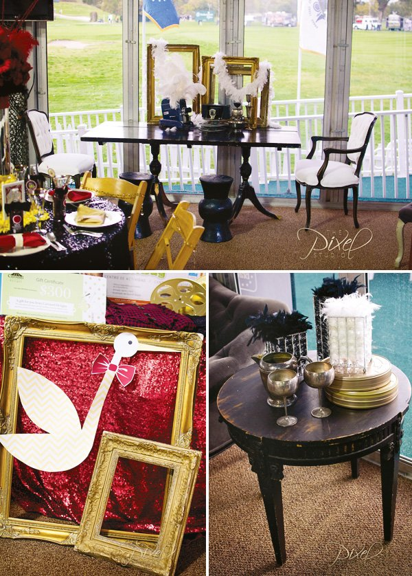 hollywood glam baby shower decorations with vintage furniture and gold vintage frames
