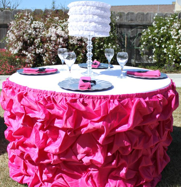 hot pink ruffle table skirt