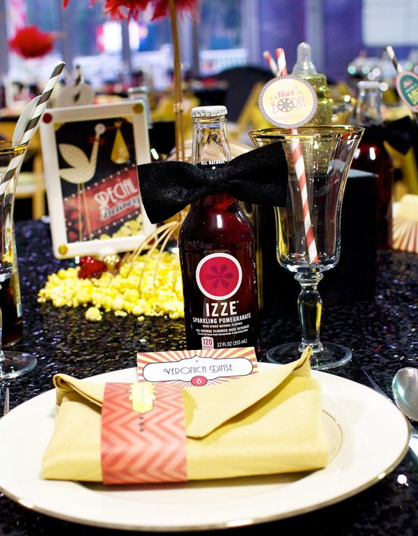 a star is born - hollywood baby shower place setting with bow tie IZZE