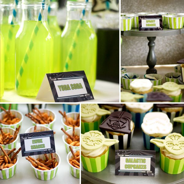 star wars party snack table with yoda soda