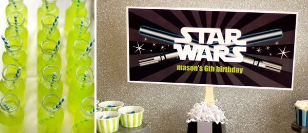 star wars birthday party sign and lime green drinks with blue striped straws