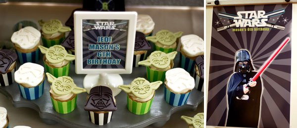 star wars birthday party darth vader costume and sign for cupcake display