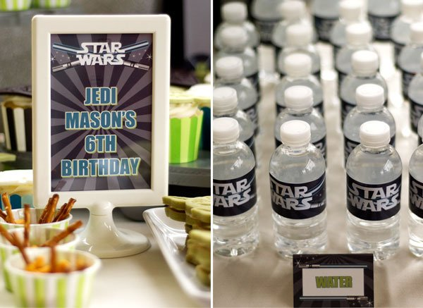 star wars party water bottle labels and jedi sign