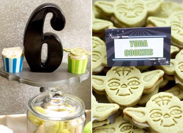 yoda cookies for a star wars birthday party