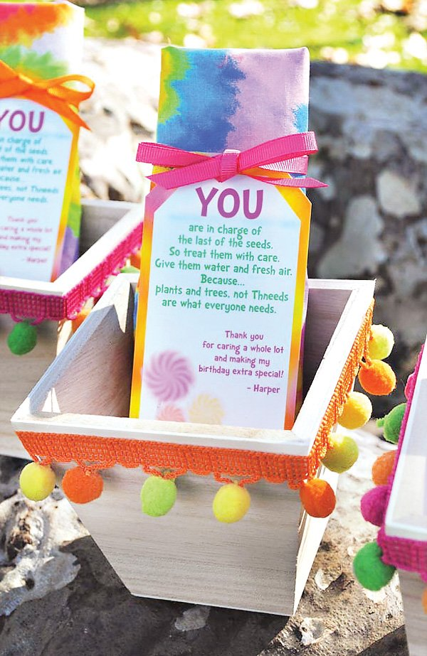 lorax party earth-friendly favors