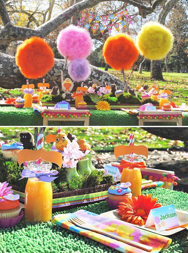 lorax party table with truffala tree centerpiece and lorax drinks