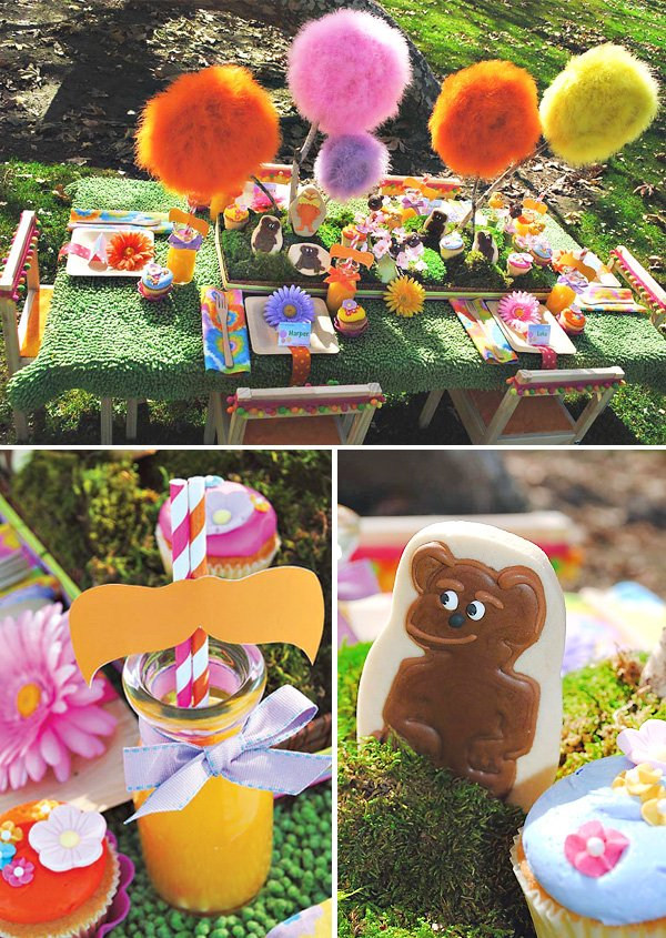 lorax party table, place settings, drink and cookies