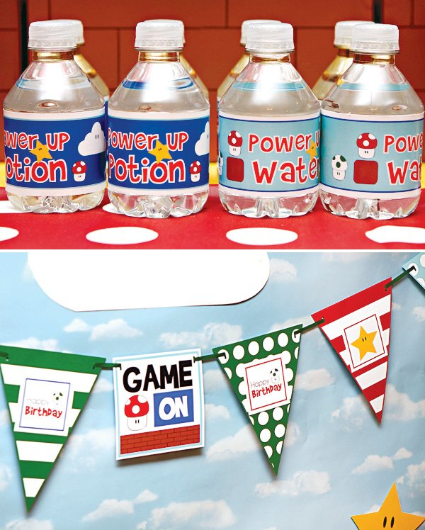 super mario party water bottle labels and birthday banner