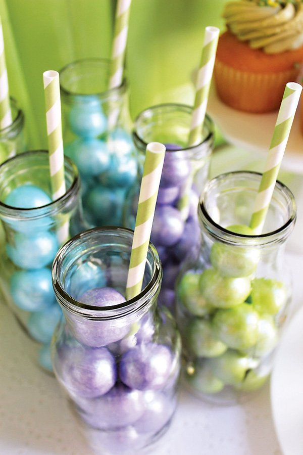 pearl gumballs in milk bottles in blue, green and purple