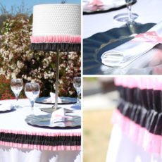 pink and black ruffled wedding or bridal shower tablescape