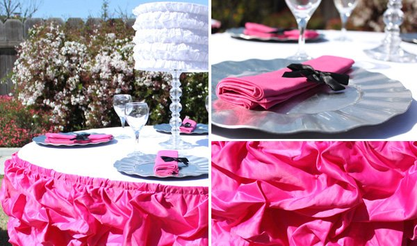 pink white ruffle tablescape