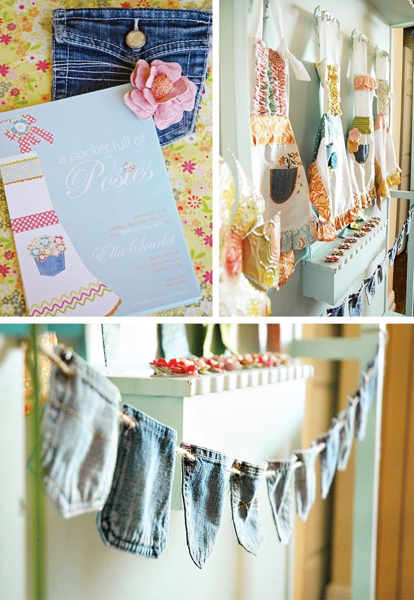 pocket full of posies party theme, invitations, and jean pocket garland