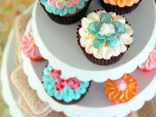 Cupcakes topped with Handmade Paper Flower toppers
