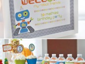 retro robot dessert table welcome sign