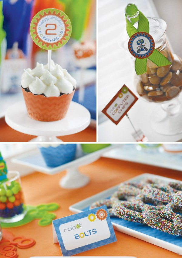 Retro Robot Birthday Party Dessert Table Hostess With