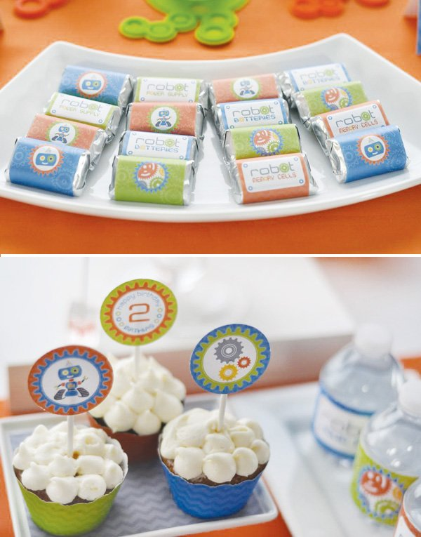 retro robot dessert table chocolate wrappers and cupcake toppers