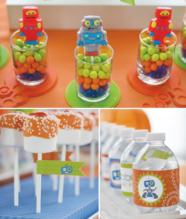 retro robot dessert table marshmallows and water bottle labels