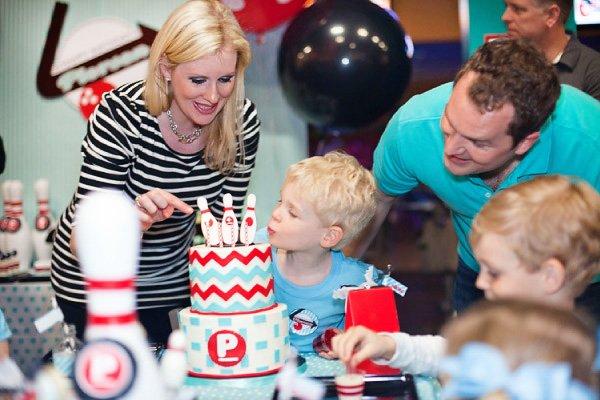 retro bowling birthday party cake