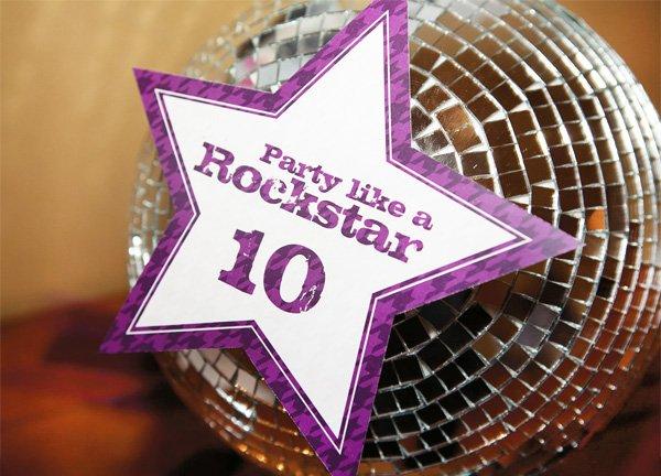 rockstar party disco ball detail