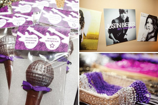 rockstar birthday party favors and justin beiber poster