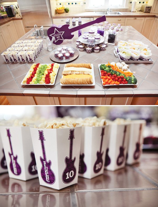 rockstar party food arrangement and closeup on popcorn