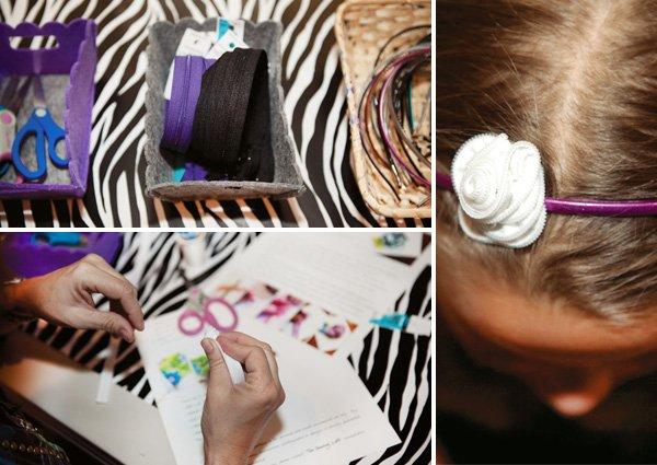 rockstar birthday party activity zipper flower headband craft
