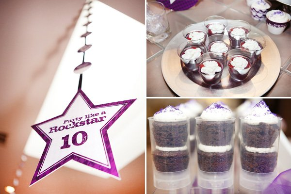 rockstar birthday party pushcakes and purple ceiling decorations