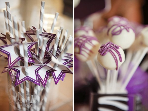 rockstar birthday party striped straws and purple cake pops