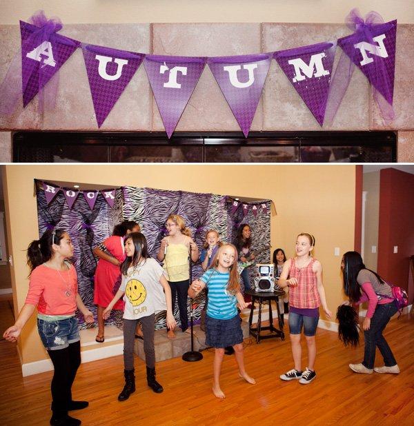 rockstar banner and karaoke setup for party