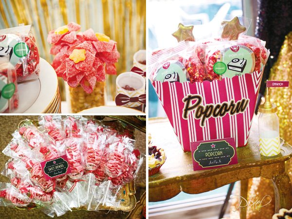 a star is born baby shower decorated with a hollywood glam candy table
