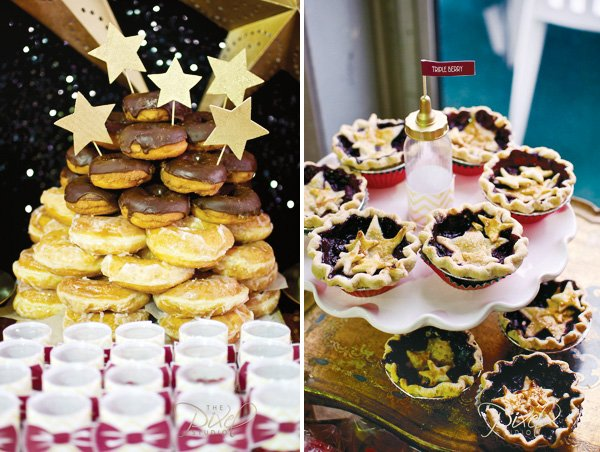 a star is born decorated donuts and mini pies for a hollywood glam baby shower