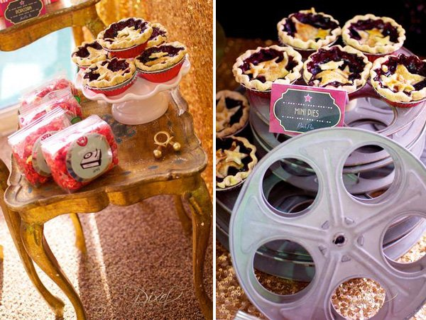 a star is born baby shower with film reel decorations and hollywood glam style