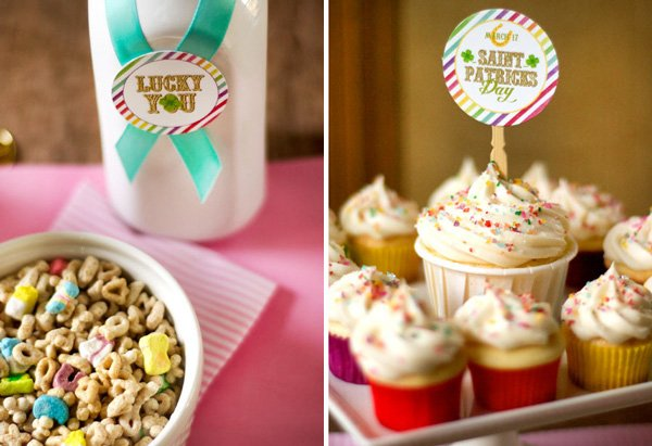 "st. patrick's day cupcakes with free ""lucky you"" printables"
