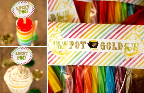 "rainbow twizzlers with ""pot of gold"" labels - st. patrick's day party ideas"